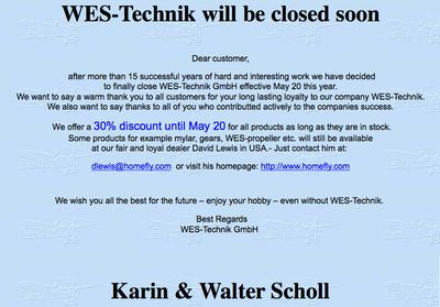 WES-Technik closed